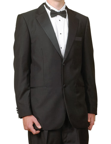 Men's Two Piece 100% Merino Virgin Wool Super 140s Black Tuxedo