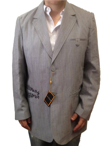 New Men's Stacy Adams Two Button Gray (Grey) Blazer Suit Jacket