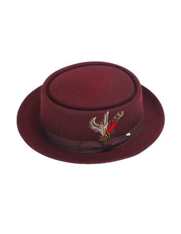 Men's 100% Wool Burgundy / Maroon (Deep Red) Porkpie (Pork Pie) Hat