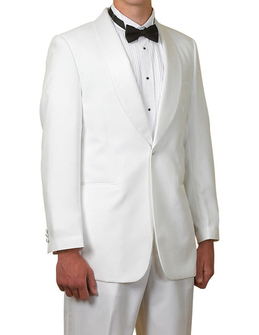 New Men's One Button White Shawl Collar Tuxedo Suit