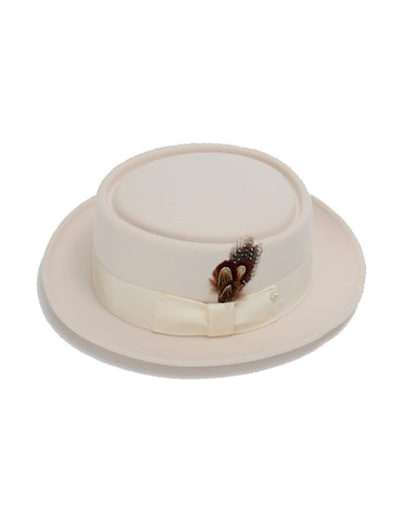 Men's 100% Wool Cream (Off-White) Porkpie (Pork Pie) Hat