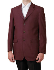 Men's Burgundy / Maroon (Deep Red) Single Breasted Three Button Suit Jacket Dinner Blazer