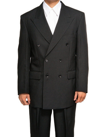 Men's Double Breasted Six Button Formal Black Dress Suit