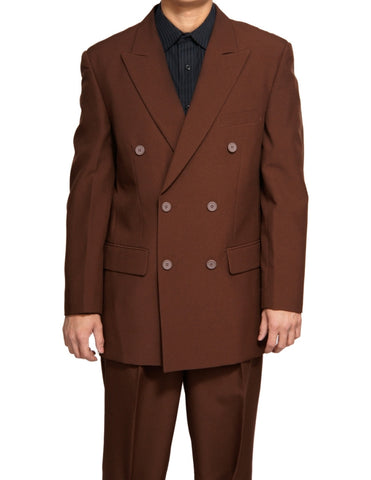 Men's Double Breasted Six Button Formal Brown Dress Suit