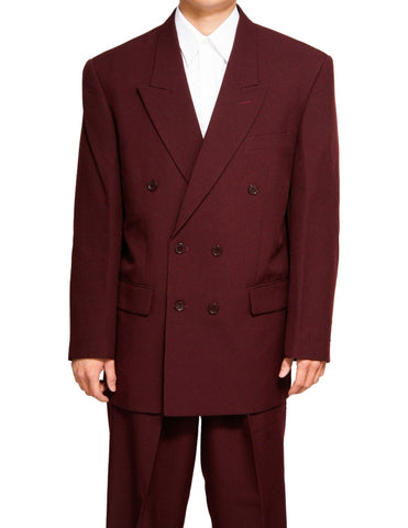 Men's Double Breasted Six Button Formal Burgundy / Maroon (Deep Red) Dress Suit