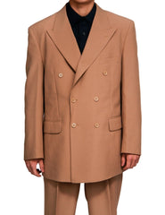Men's Double Breasted Six Button Formal Tan / Beige Dress Suit