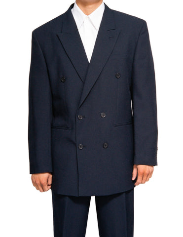 Men's Double Breasted Six Button Formal Navy Blue Dress Suit