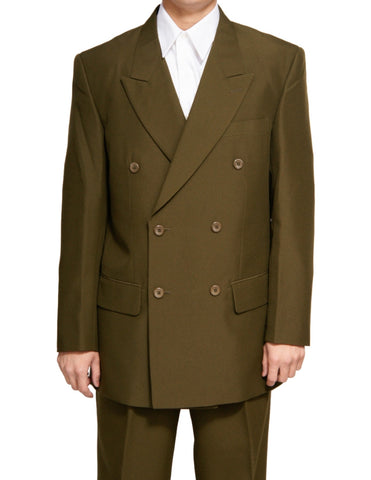 Men's Double Breasted Six Button Formal Olive Green Dress Suit