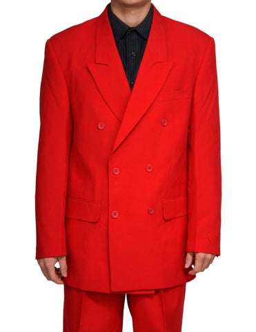 Men's Double Breasted Six Button Formal Red Dress Suit