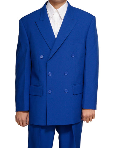 Men's Double Breasted Six Button Formal Royal Blue Dress Suit