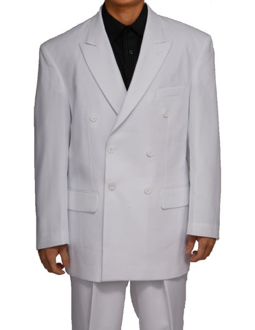 Men's Double Breasted Six Button Formal White Dress Suit