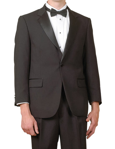 Men's One Button Black Tuxedo Suit, Shirt, Bow Tie, Cummerbund 5 Pcs New
