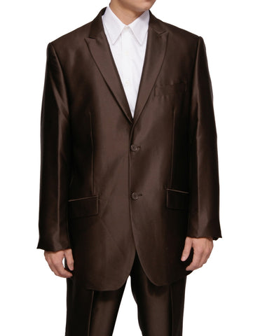 New Men's Three Piece 3 Button Slim Fit Brown Sharkskin Dress Suit with Vest & Flat Front Pants