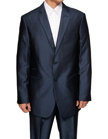 New Men's Navy Blue Fashion Fit Two Button Superfine Shiny Sharkskin Dress Suit