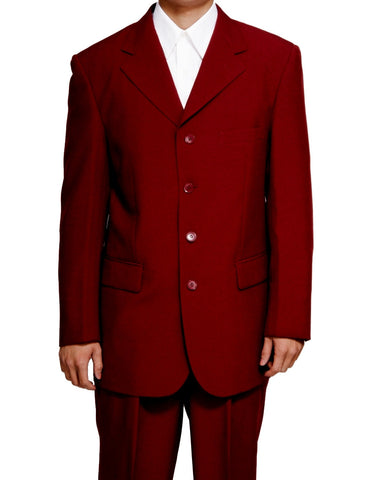 New Men's Single Breasted Burgundy (Maroon) Formal Dress Suit for Big and Tall Men