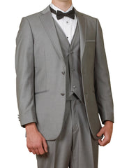 New Men's 5 Piece Gray Tuxedo Suit Package with Vest, Shirt & Bow Tie