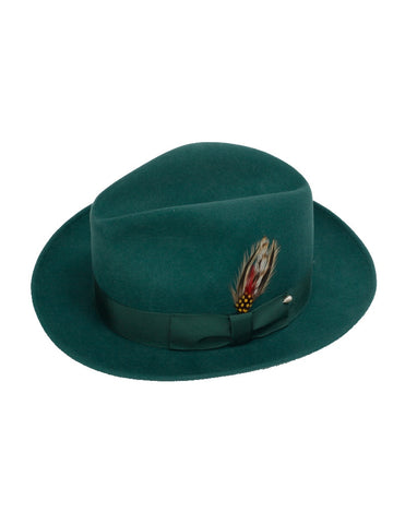 Men's 100% Wool Green Untouchable Fedora Style Hat
