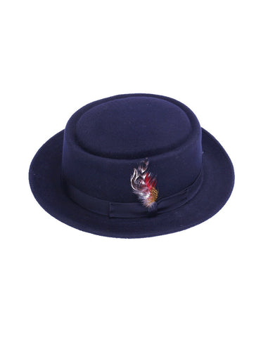 Men's 100% Wool Midnight Navy Blue Porkpie (Pork Pie) Hat
