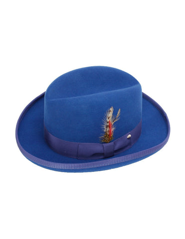 Men's 100% Wool Royal Blue Godfather Fedora Style Hat