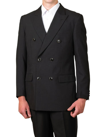 Men's Six Button Double Breasted Dinner Blazer Black Suit Jacket