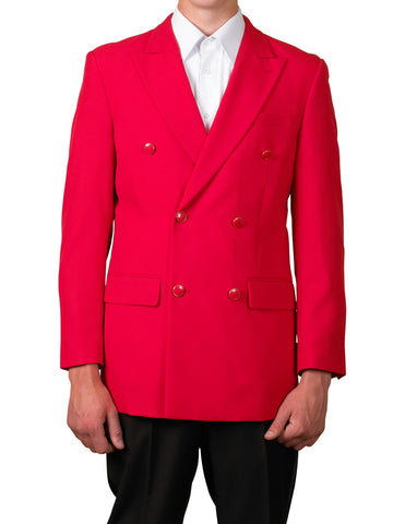 Men's Six Button Double Breasted Dinner Blazer Red Suit Jacket