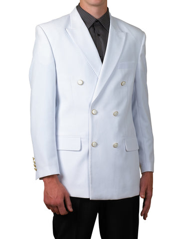 Men's Six Button Double Breasted Dinner Blazer White Suit Jacket