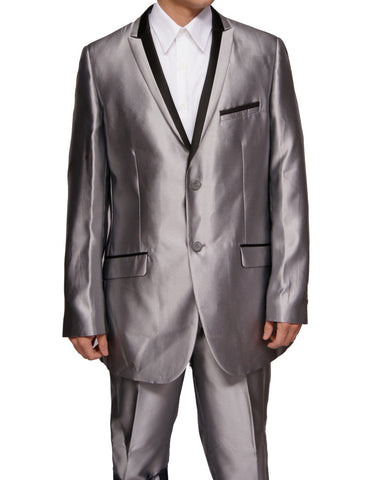 Men's Slim Fit Silver Sharkskin with Black Trim