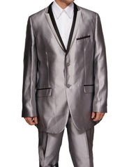 Men's Super 120's Shiny Silver Sharkskin Dress Suit with Black Trim