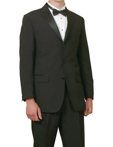 Men's Complete Five Piece Single Breasted Black Tuxedo Suit