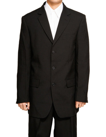 Men's Single Breasted Black Three Button Dress Suit