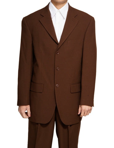 Men's Single Breasted Brown Three Button Dress Suit