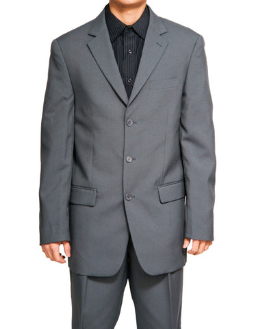 Men's Single Breasted Gray Three Button Dress Suit