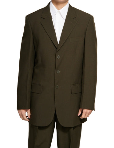 Men's Single Breasted Olive Green Three Button Dress Suit