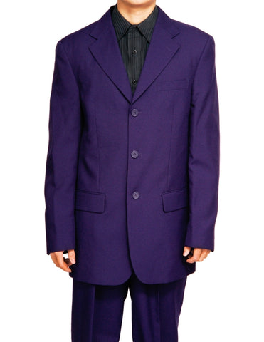 Men's Single Breasted Purple Three Button Dress Suit
