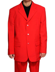 Men's Single Breasted Red Three Button Dress Suit