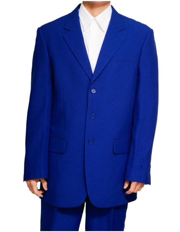 Men's Single Breasted Royal Blue Three Button Dress Suit