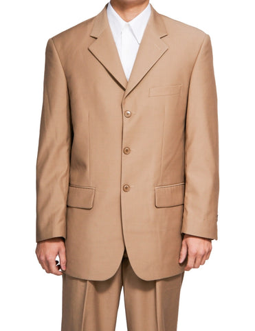 Men's Single Breasted Tan / Beige Three Button Dress Suit