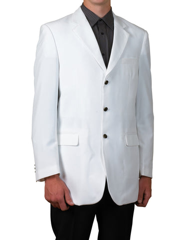 Men's White Single Breasted Three Button Blazer Sportscoat Dinner Suit Jacket