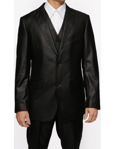 New Men's Three Piece Shiny Black Sharkskin Slim Fit Dress Suit