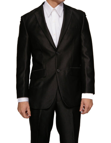 Men's Shiny Black Slim Fit Sharkskin Two Button Dress Suit