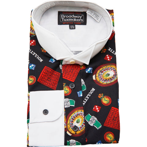 Men's Lucky Casino Las Vegas Themed Tuxedo Shirt Roulette Gambling