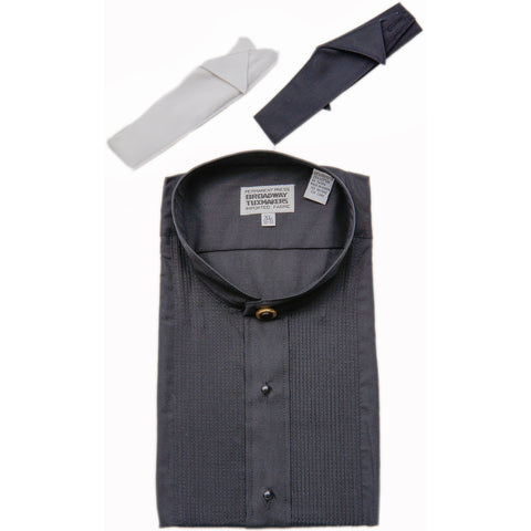 Men's Banded Black Mandarin Collar Tuxedo Shirt