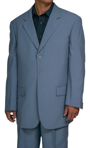 Men's Single Breasted Blue Gray Three Button Dress Suit