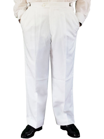 White Pleated Adjustable Tuxedo Pants