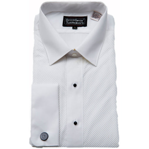 3 men's Irregular White Laydown Collar Tuxedo Shirt by Broadway Tuxmakers