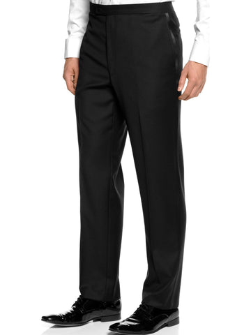 New Men's Black Pleated Adjustable Wool Tuxedo Pants by Broadway Tuxmakers