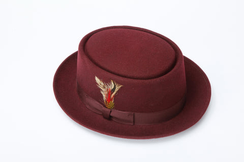 Men's 100% Wool Brown Porkpie (Pork Pie) Hat