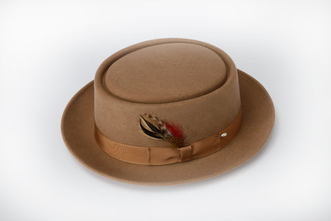 Men's 100% Wool Tan / Beige / Camel Porkpie (Pork Pie) Hat