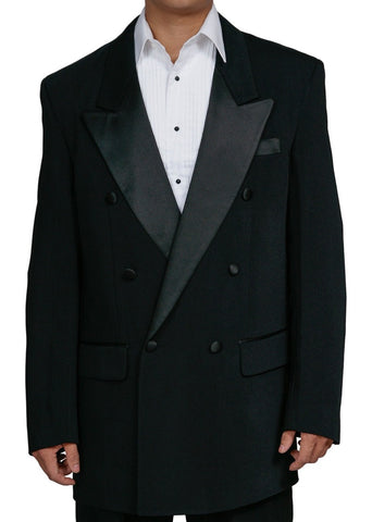 Men's Two Piece Black Double Breasted Tuxedo Suit