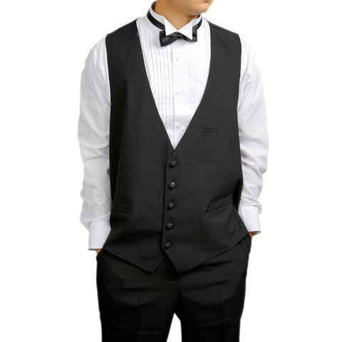 Mens 5 Button Black Tuxedo Vest